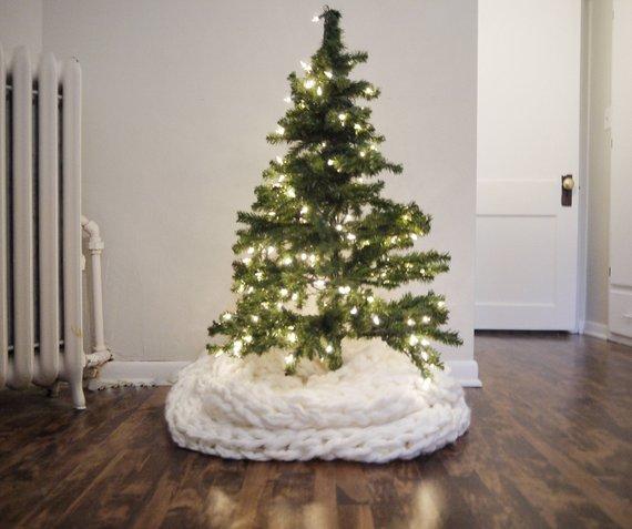 Cozy Merino Wool Arm Knit Christmas Tree Skirt Christmas