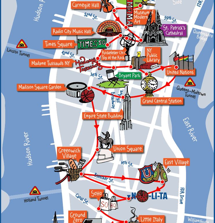 New York Attractions Map download tourist map nyc major ...