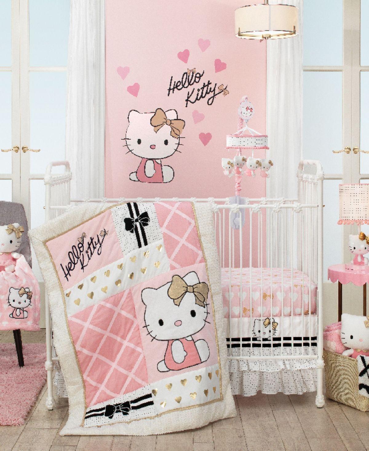 Lambs Ivy Hello Kitty With Hearts Nursery 3 Piece Baby Crib