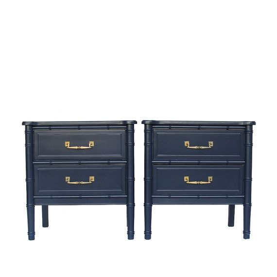 Best Navy Blue Lacquered Faux Bamboo Nightstands Faux Bamboo 400 x 300