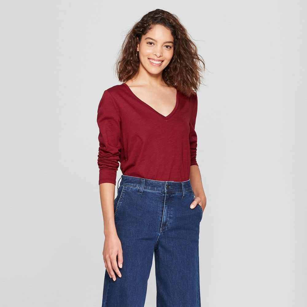 313c95269bc Women s Long Sleeve Vintage V-Neck T-Shirt - A New Day Burgundy (Red) Xxl