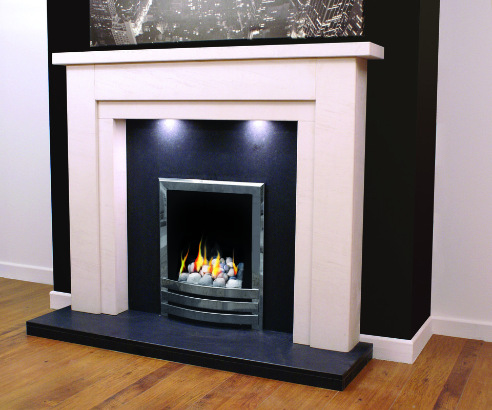 honed black granite hearth mat in honed ivory limestone. Black Bedroom Furniture Sets. Home Design Ideas