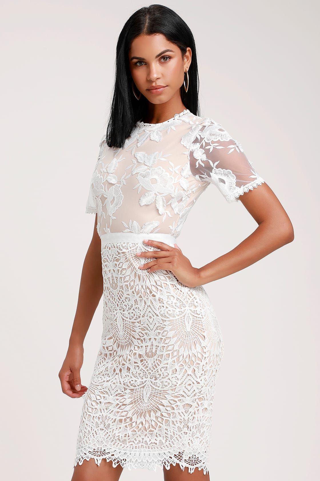 2cf1fd6c19 White Lace Midi Dress With Short Sleeves - Gomes Weine AG