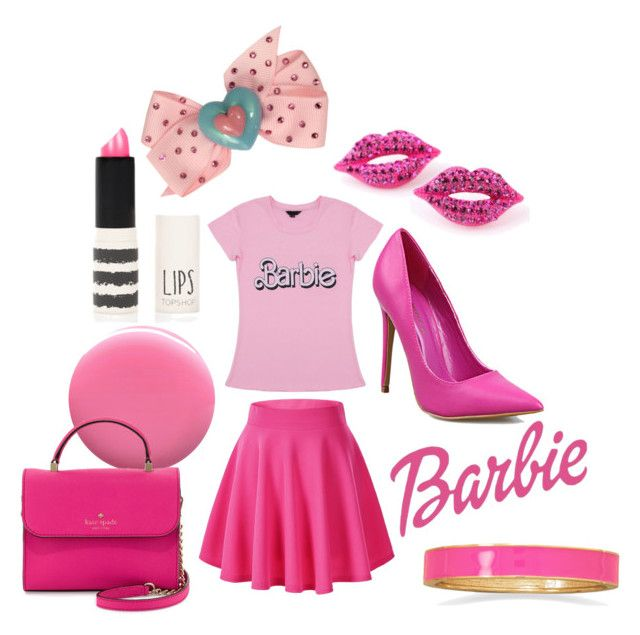 """Barbie Girl"" by thecannibalking on Polyvore featuring Topshop, Lauren B. Beauty, Tarina Tarantino, Shoe Republic LA, Kate Spade, BillyTheTree, cute, hotpink and Barbie"