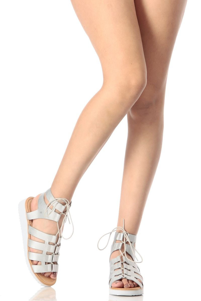 fcfa1d505d210 Silver Metallic Lace Up Platform Sandal   Cicihot Sandals Shoes online  store sale Sandals