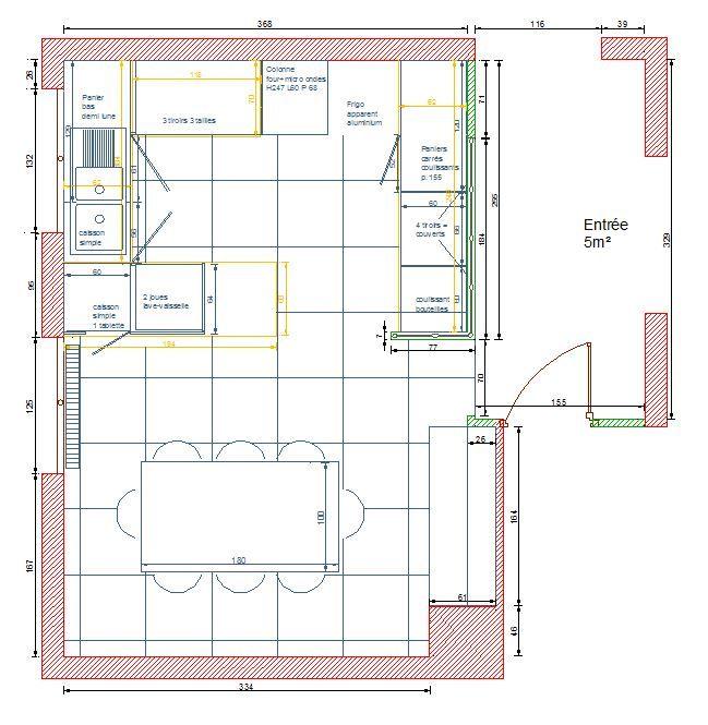 plan cuisine moderne blanche verrière + ilot central Laurence
