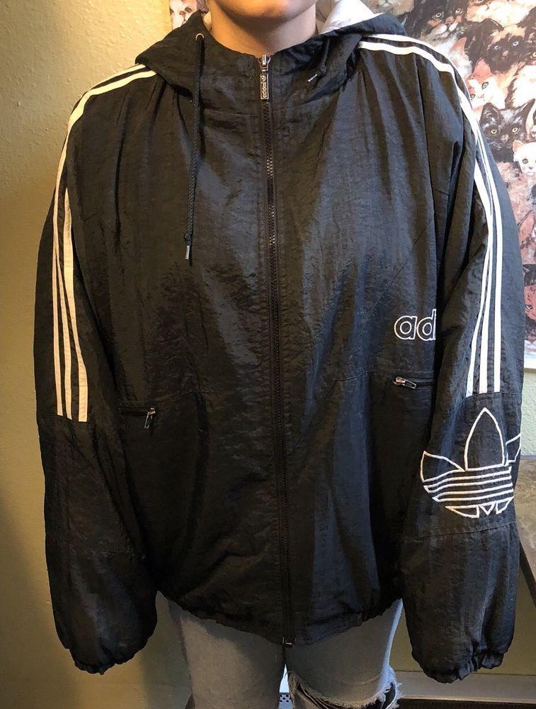 Vintage Adidas 90s Puffer Jacket Big Trefoil Hip Hop Coat Black and White  XXL  adidas  Puffer d5d0c0ddf9d2