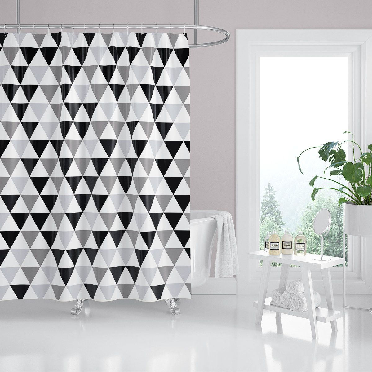 Black Gray And White Triangle Fabric Shower Curtain Geometric