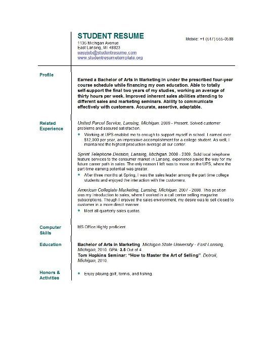 Pin On Student Resume Template