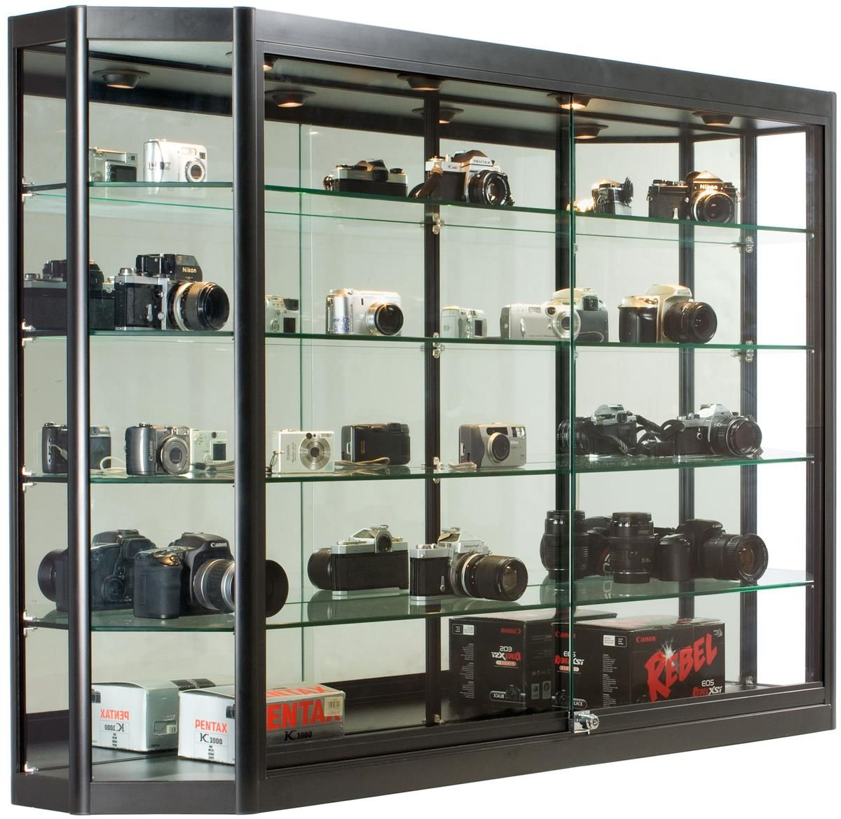 5x3 Wall Mounted Display Case W Mirror Back Sliding Doors Locking Black Glass Cabinets Display Wall Display Cabinet Display Cabinet