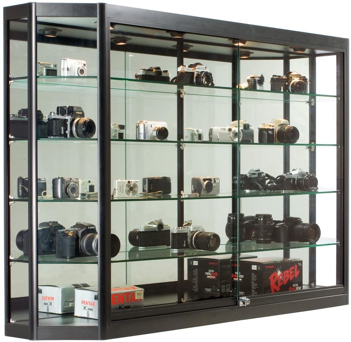 5x3 Wall Mounted Display Case W Mirror Back Sliding Doors