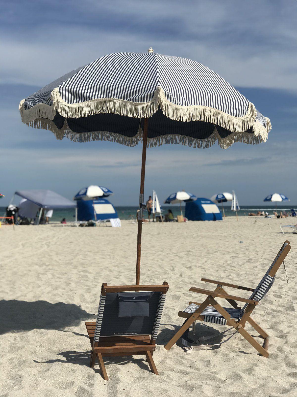 The Premium Beach Umbrella Lauren S Navy Stripe Beach Umbrella Patio Patio Umbrellas