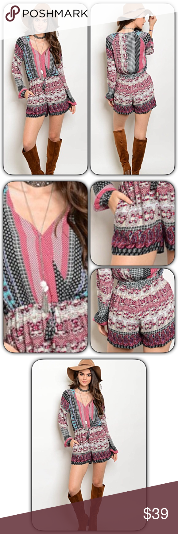 f0d106fba479 Bohemian Chic Surplice Romper SML This romper is a boho chic must have!  Absolutely beautiful