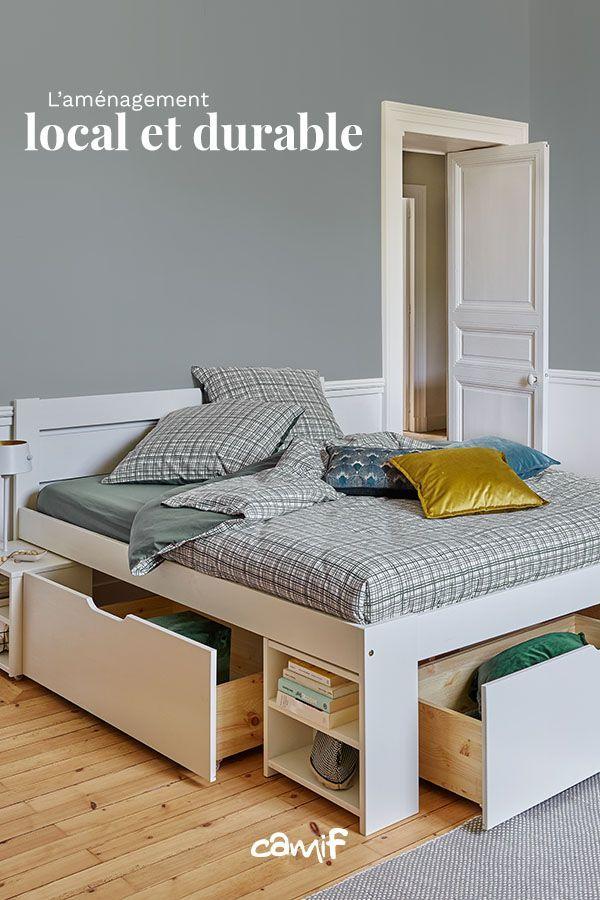 Mobilier Decoration Francais Et Durable Camif Lit Rangement Lit En Bois Avec Rangement Deco Chambre Gris Et Blanc
