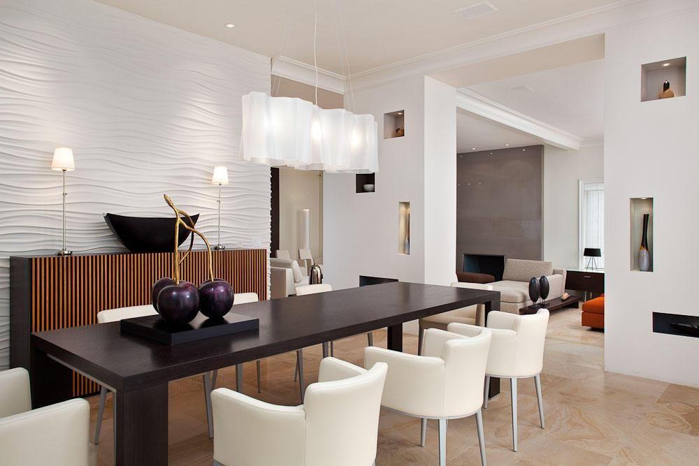 Representación 3D de cocina y comedor amplia habitación con iluminación de  la pista, espejos y un pequeño árbol delante de la ventana grande
