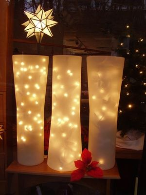 another white Christmas idea; a nice change from candles in the window