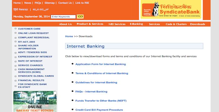 Syndicate Bank Sign In Sign In To Syndicatebank In Signs Syndicate Banking Services