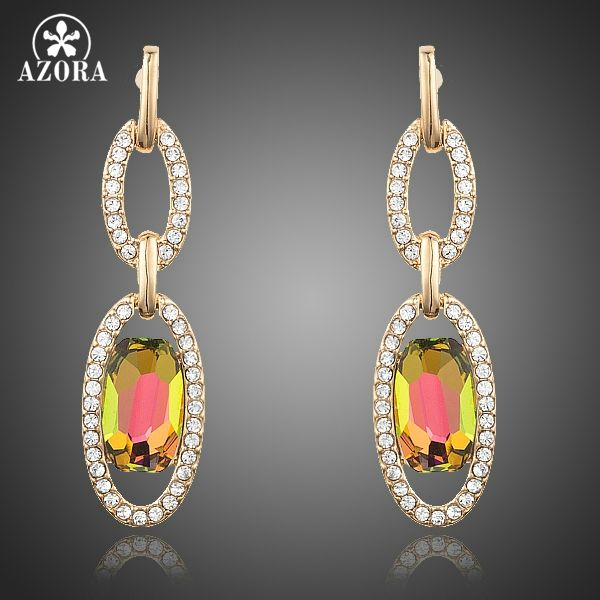 AZORA Gold Plated Two Circle Connected Stellux Austrian Crystal Drop  Earrings TE0163 13184b551605