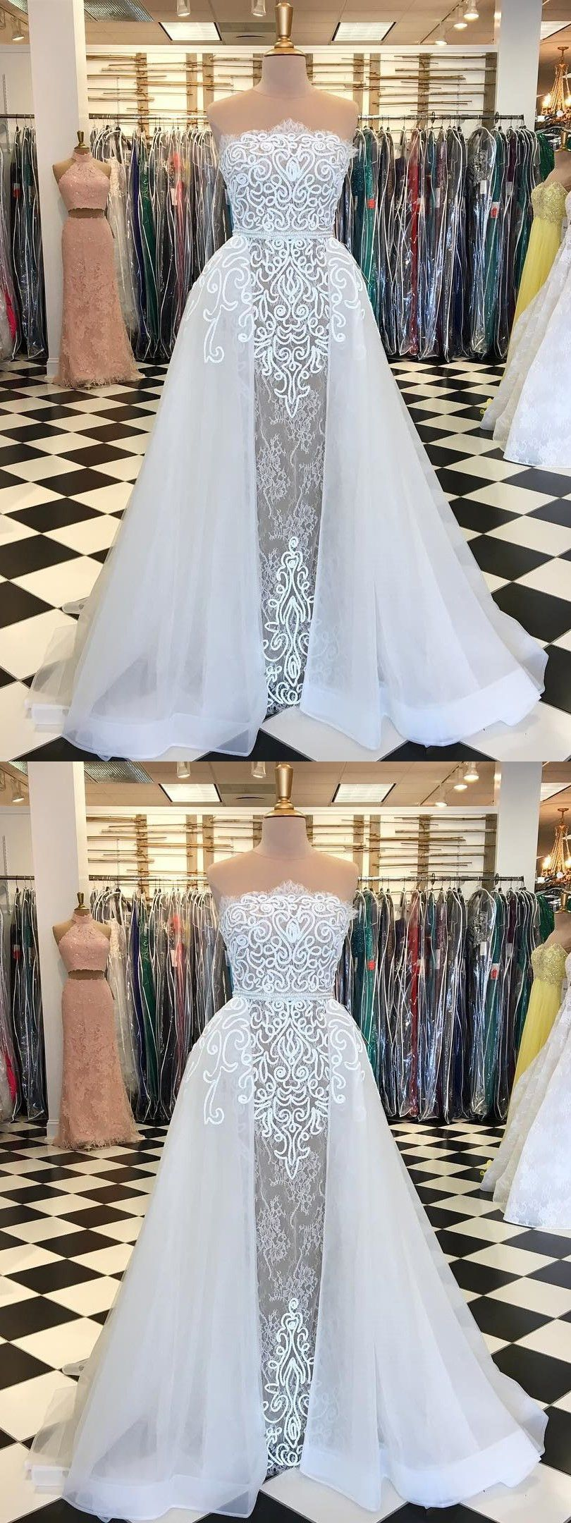 Chic white prom dress strapless lace aline long prom dresses