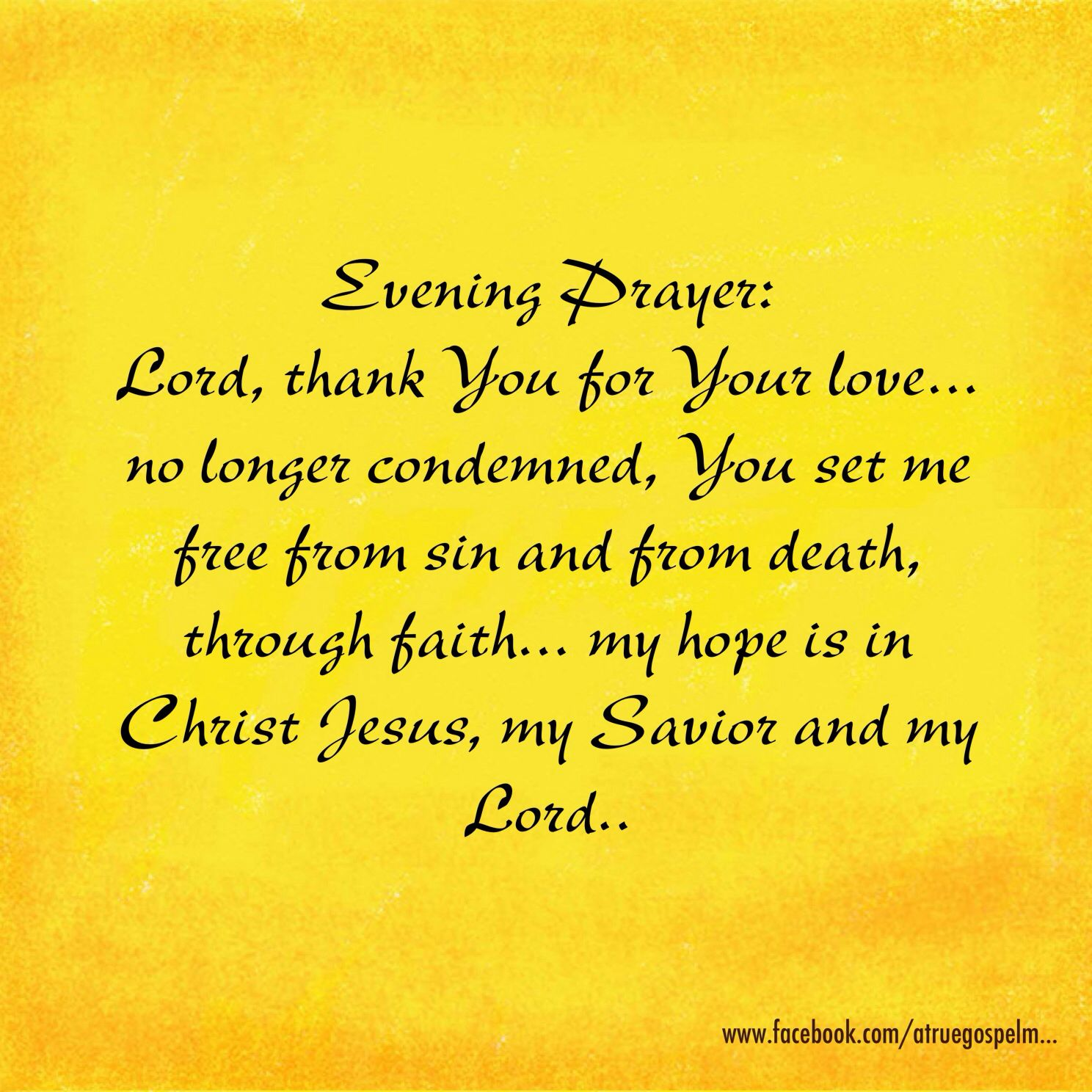 Evening Prayer: Lord, thank You for Your love.