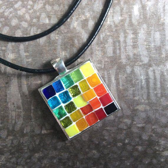 Mosaic pendant necklace rainbow a truly unique mosaic pendant hand mosaic pendant necklace rainbow a truly unique mosaic pendant hand crafted in my aloadofball Choice Image