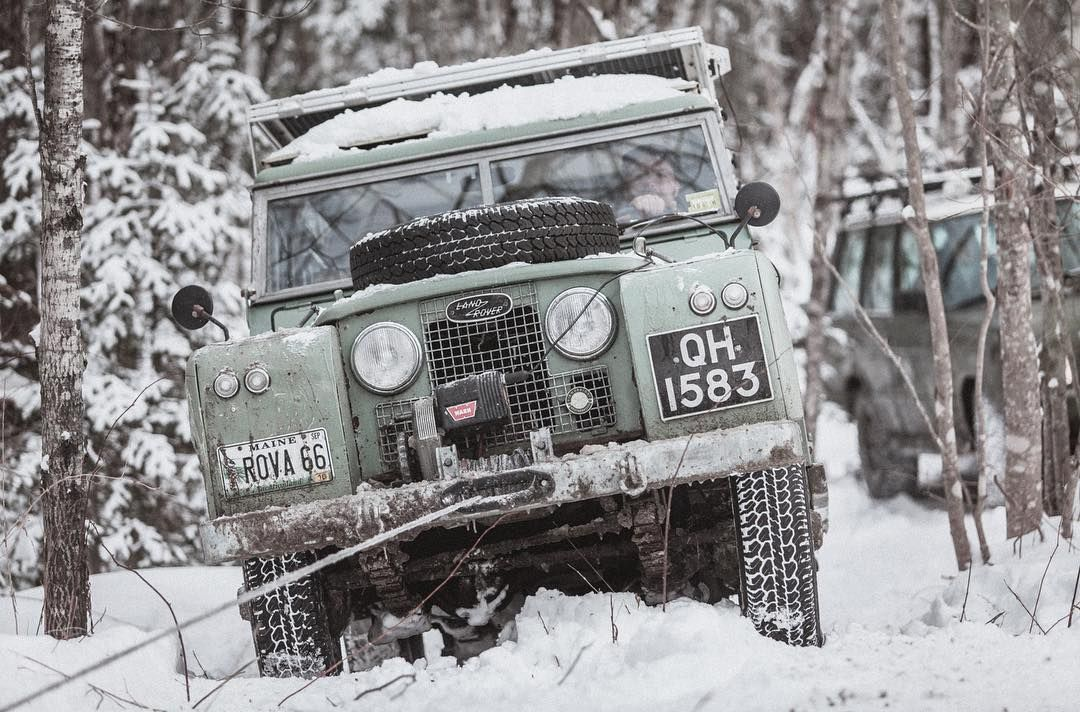 Land Rover Series In The Snow Maine
