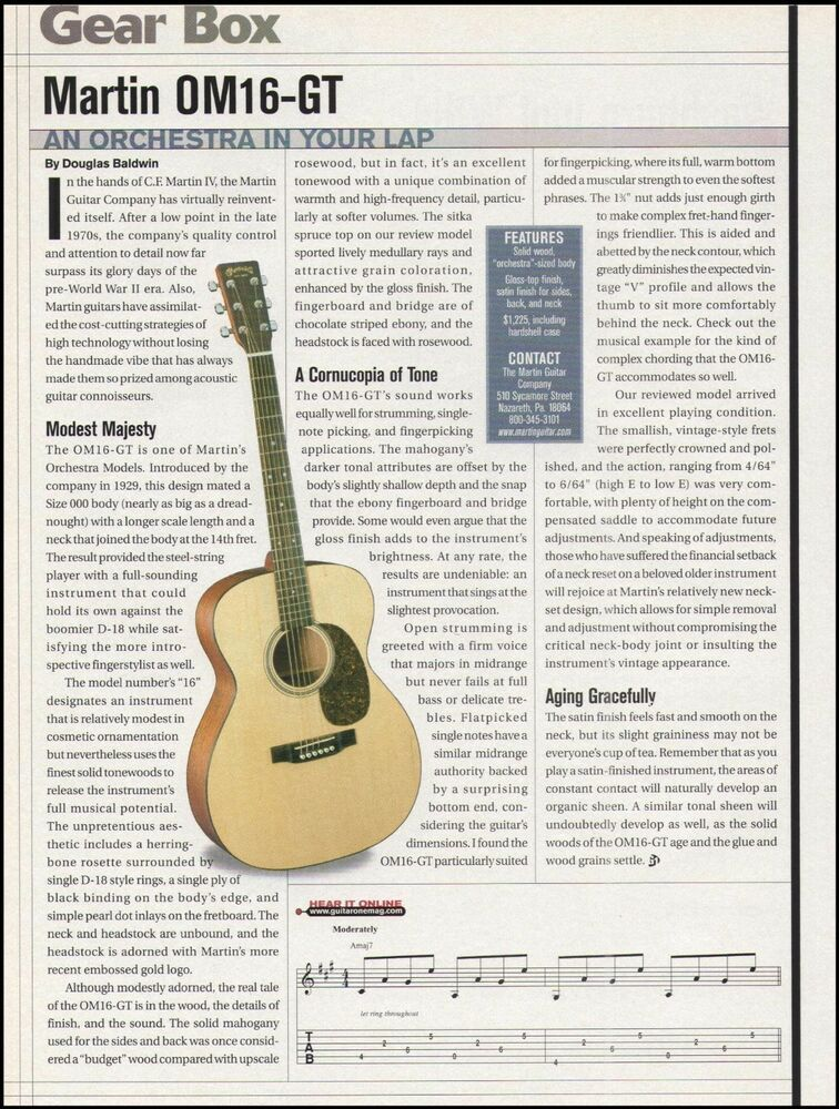 The Martin Om16 Gt Acoustic Guitar 8 X 11 Sound Check Gear Box Review Article Martin In 2020 Ovation Guitar Guitar Acoustic Guitar