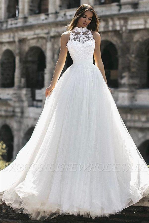 US$  199.00 Elegant High Neck Sleeveless Appliques A-Line Floor-Length Wedding Dresses #weddingdress #bridalgown #longweddingdress #princessweddingdress #ad