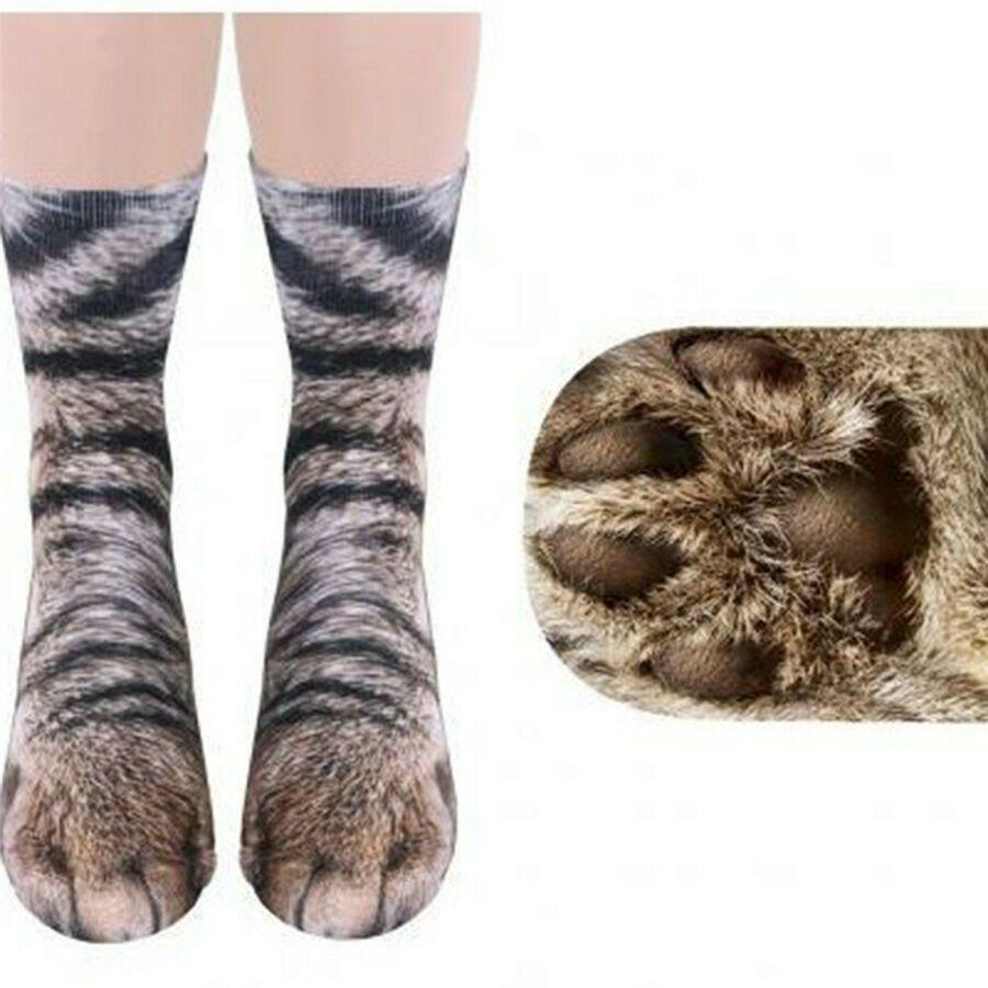 Kids 3D Animal Paw Feet Print Foot Crew Socks Elastic Hosiery Cat