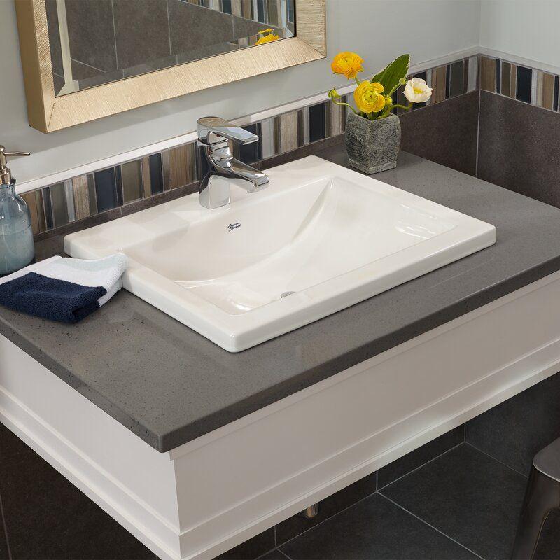 Studio Vitreous China Rectangular Drop In Bathroom Sink With