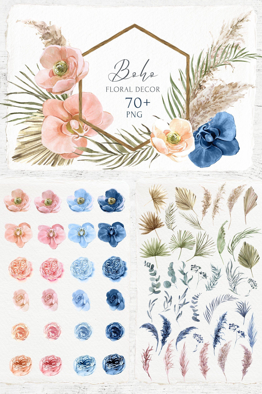 Boho Wedding Watercolor Set Clipart Tropical Ceremony Decor Etsy Floral Border Design Orchid Flower Wedding Tumblers