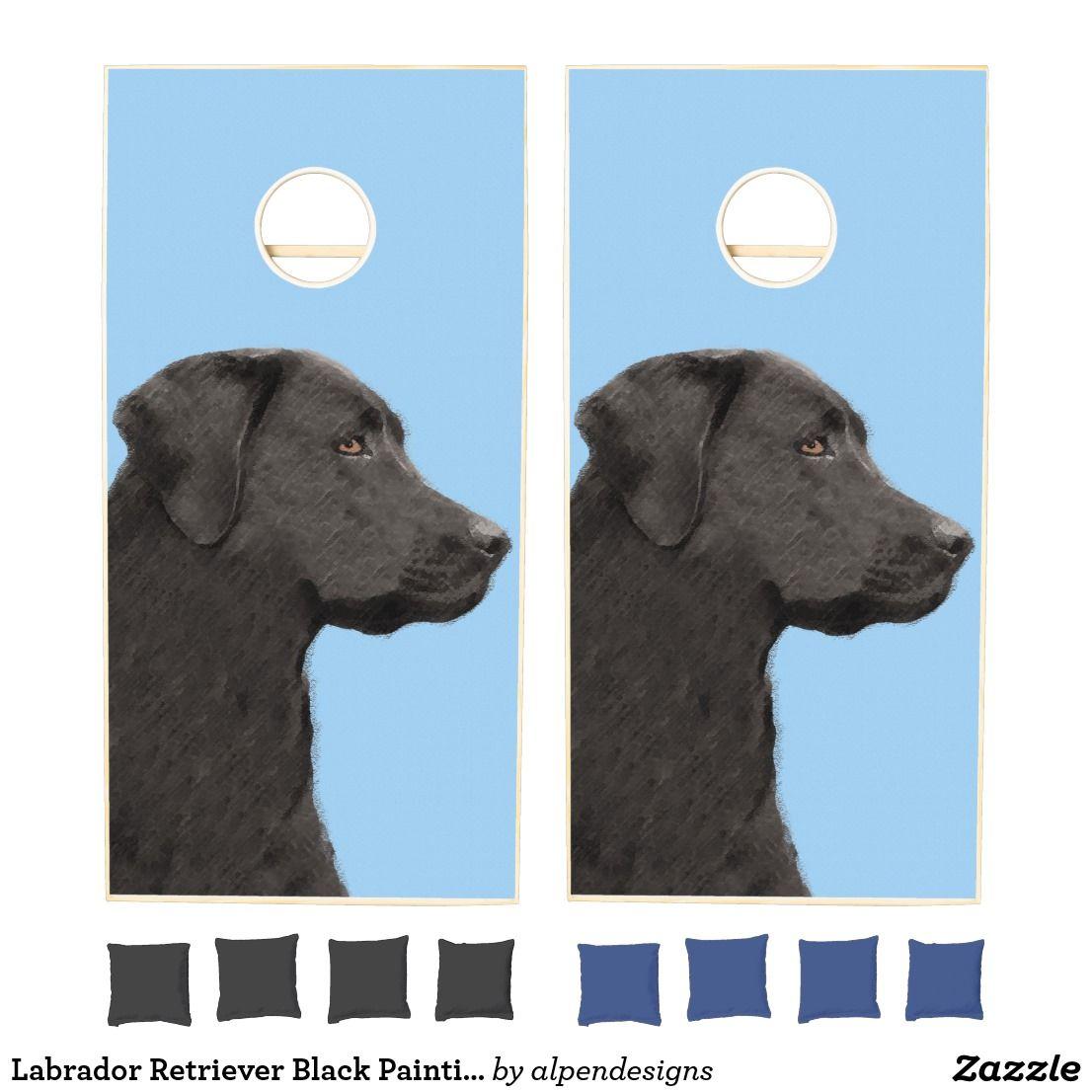 Labrador Retriever Black Painting Original Dog Art Cornhole Set Zazzle Com Labrador Retriever Labrador Art Labrador