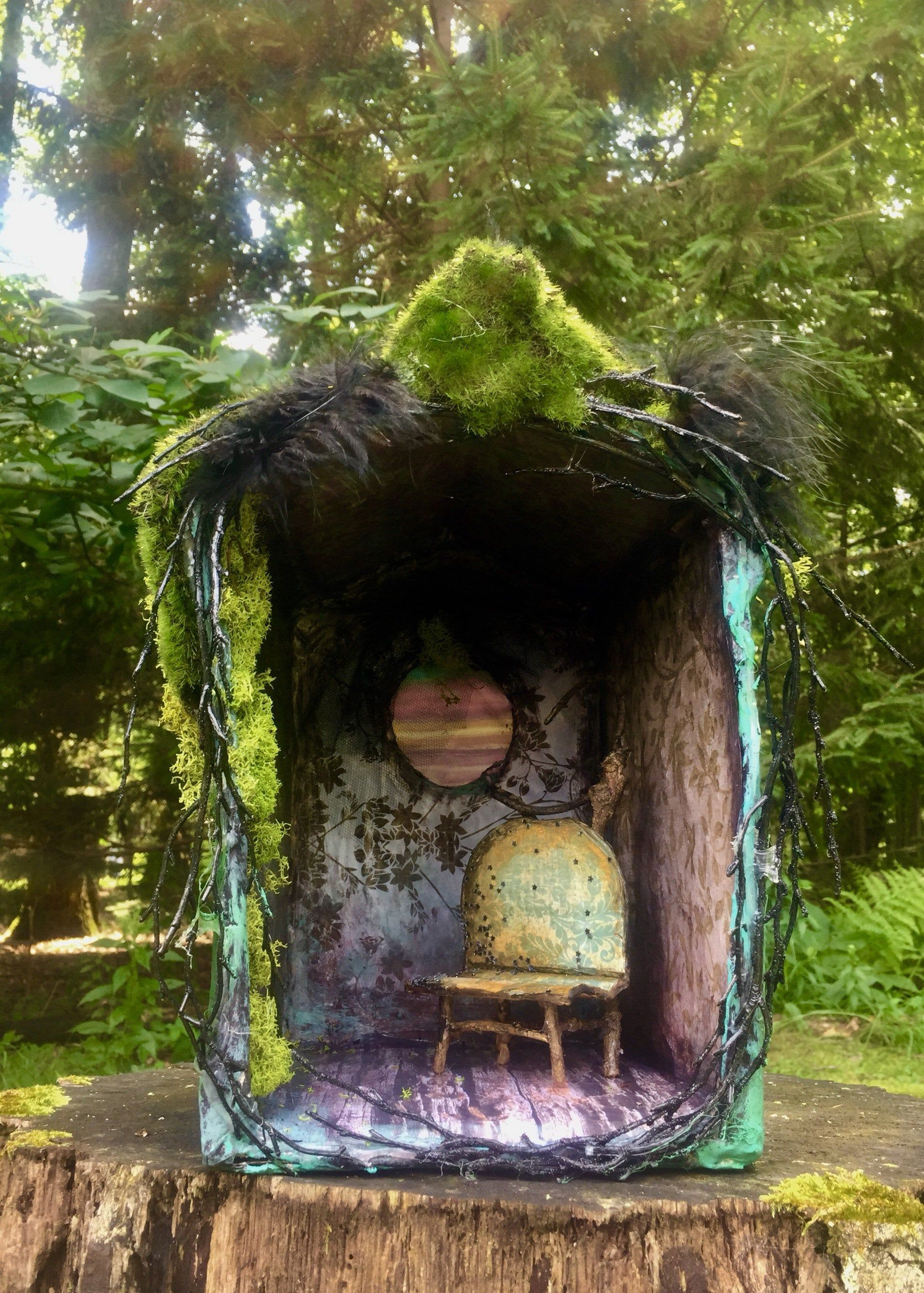 Hedge Witch Cottage-ooak whimsical one room fairy dollhouse #witchcottage