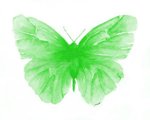Green Butterfly Watercolor Archival Print Butterfly Watercolor Green Butterfly Print