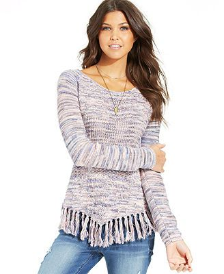 American Rag Fringed Handkerchief-Hem Sweater