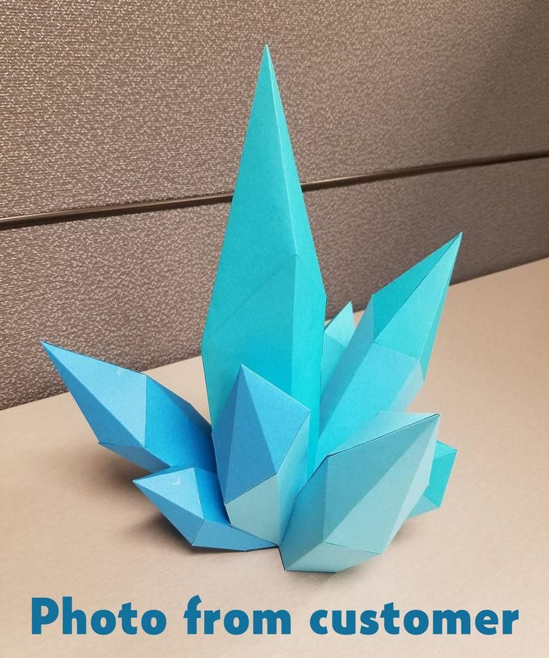 Diy Paper Craft Crystal 3d Papercraft Model Pdf Template Low