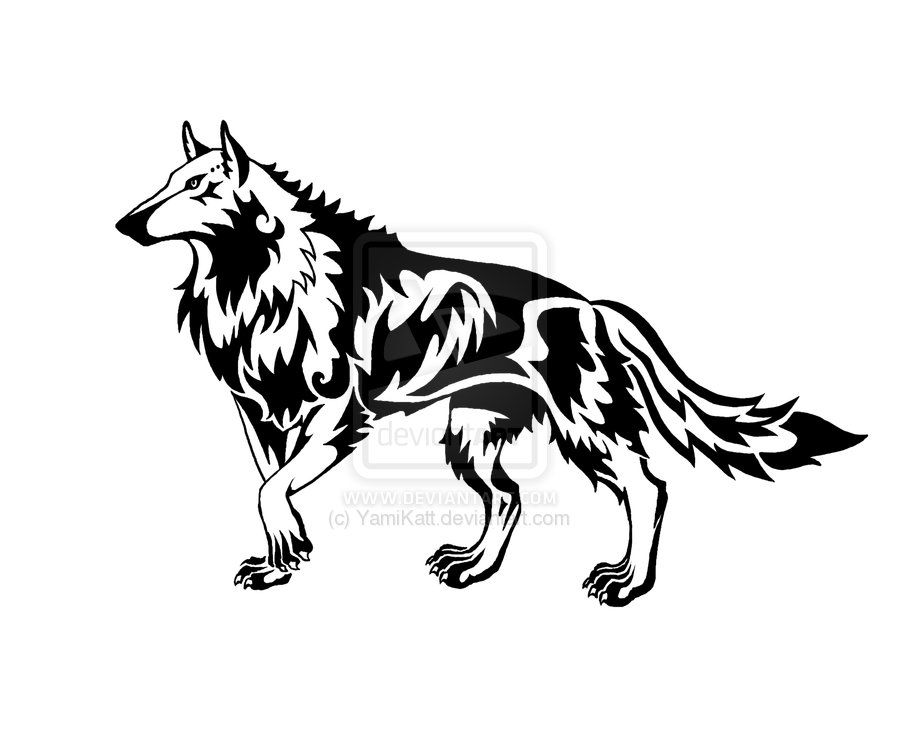 tribal wolf drawings tribal wolf request by yamikatt wolfs pinterest tribal wolf tribal. Black Bedroom Furniture Sets. Home Design Ideas