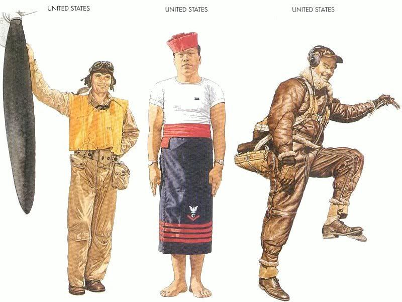 U.S.A.A.F. – 1943 June, Bougainville, Pilot, US Marine Corps United States – 1943 Nov., The Solomons, Petty Officer 3rd Class (cook), USS Saratoga United States – 1944 Jan., Hawaii, Captain, 7th Air Force