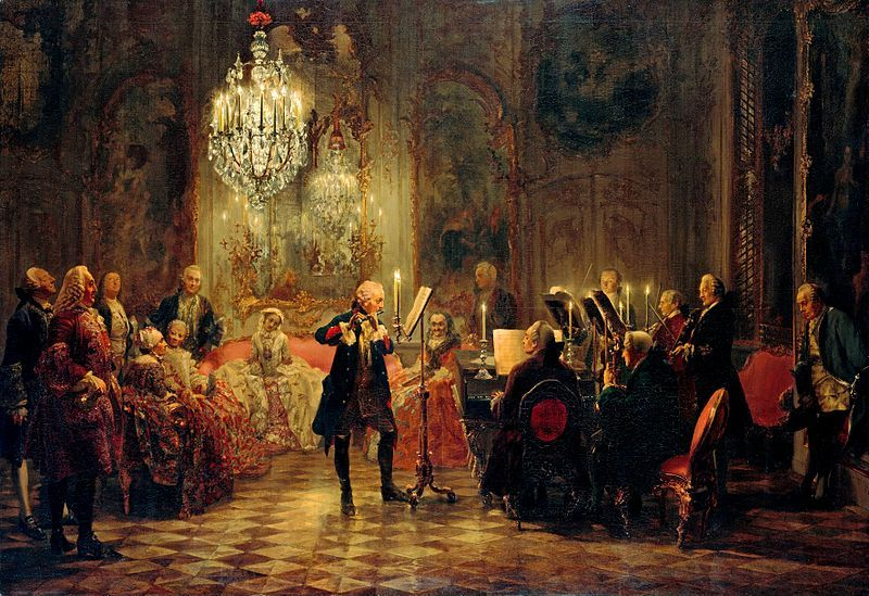 """Carl Philipp Emanuel Bach... Flötenkonzert Friedrichs des Großen in Sanssouci (""""Flute Concert with Frederick the Great in Sanssouci"""") by Adolph von Menzel, 1852, depicts Frederick the Great playing the flute as C. P. E. Bach accompanies on the keyboard. The audience includes Bach's colleagues as well as nobles."""