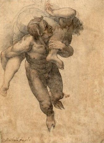"Federico Zuccaro ca. 1540-1609 Devil Carrying Off a Damned Soul, after Michelangelo's ""Last Judgement"". Verso: Male Torso of a Scorticato (Flayed Figure)"
