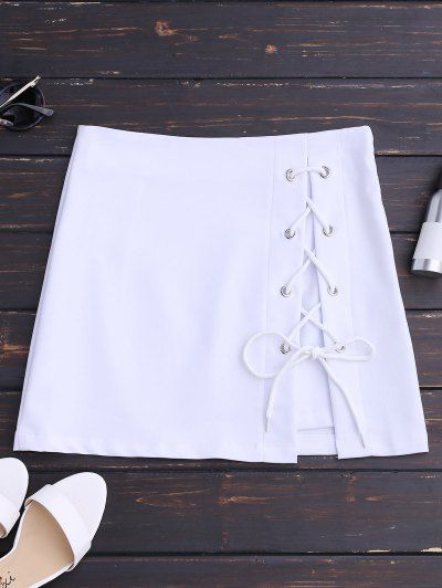 SHARE & Get it FREE | High Waisted Lace Up Bodycon Skirt - White SFor Fashion Lovers only:80,000+ Items • New Arrivals Daily Join Zaful: Get YOUR $50 NOW!