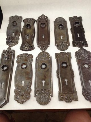 10 Old Brass Plated Arts Craft Deco Victorian Nouveau Glass Door ...