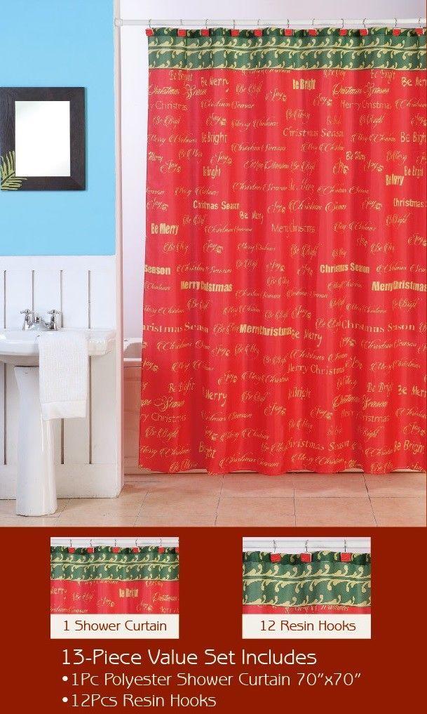 christmas shower curtain set - Christmas Shower Curtain Set