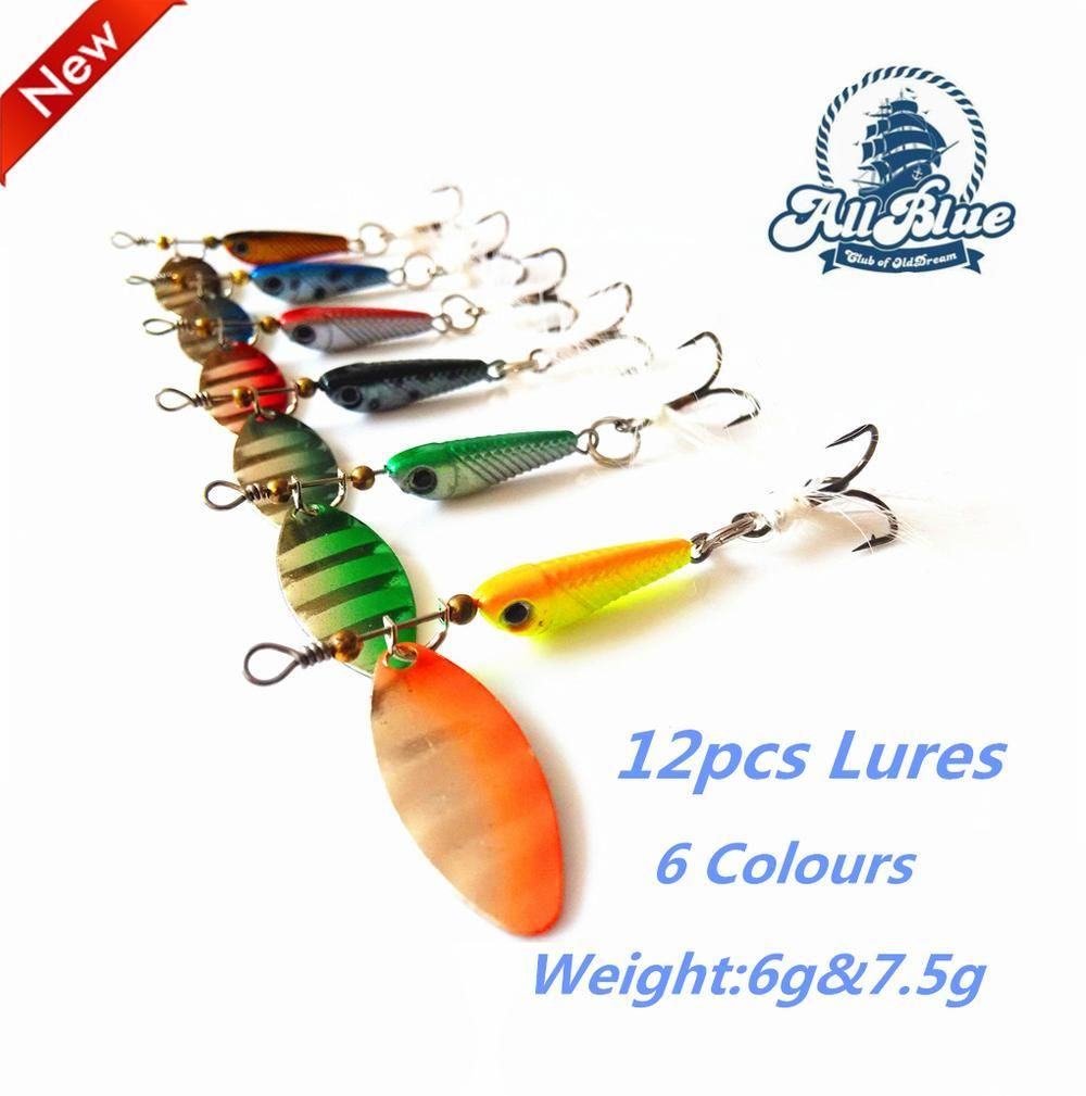 On Metal Spinner 12Pcs/Lot 5.9G 7.5G /Weight Hard Fish Lures Feathered Treble Hook Spinnerbait Lure