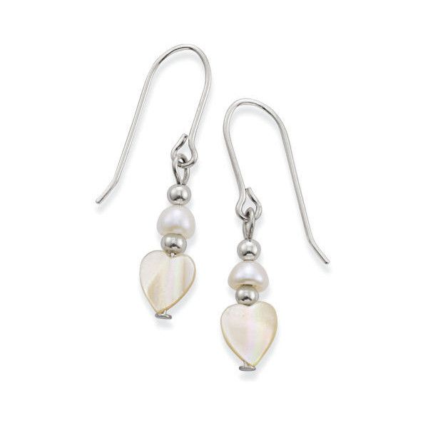20 Liked On Polyvore Featuring Jewelry Earrings Mother Of Pearl Natures Heart Shaped Jewellery And