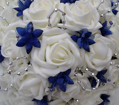 Wedding Flowers Brides Posy Bouquet Ivory Roses And Royal Blue Babies Breath