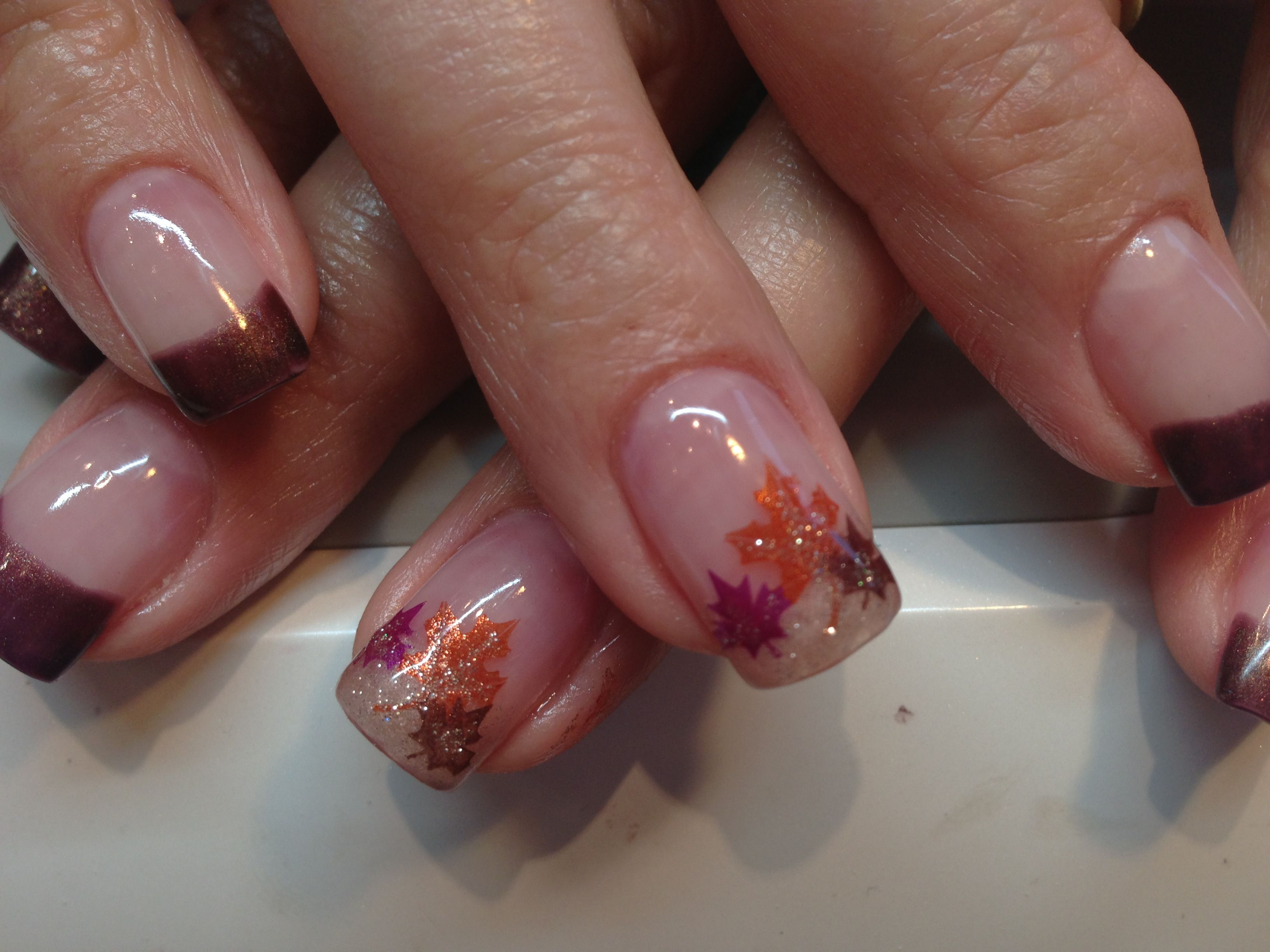 Autumn Leaves Nail Art On A Golden French Manicure Fall Wedding Nails Fall Nail Designs Finger Nail Art
