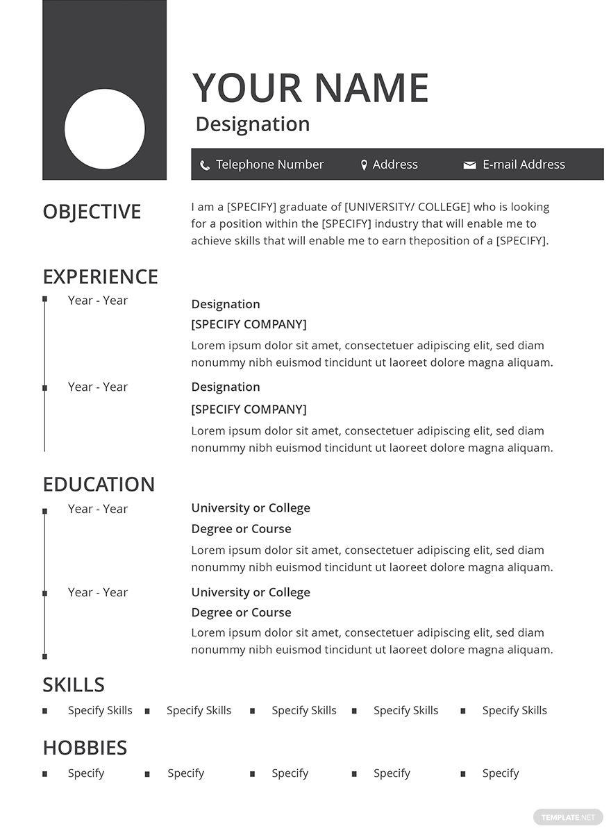 Free Blank Resume in 2020