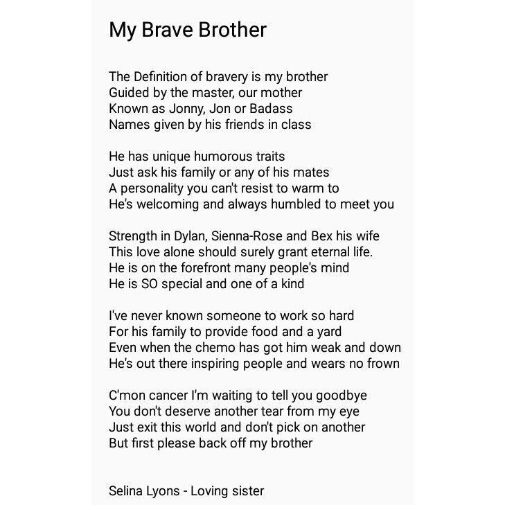 Big Brother Fighting Cancer Bravery Poem X Poems Quotes Cancer