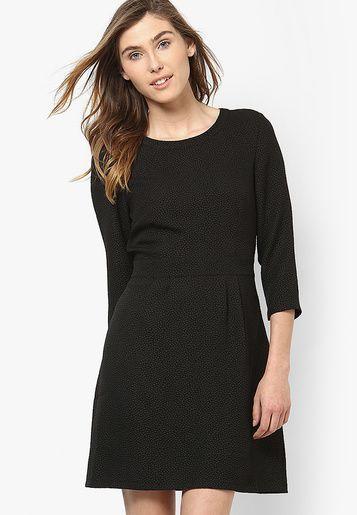 Raindrops Grey & Black Jacquard A-Line Dress